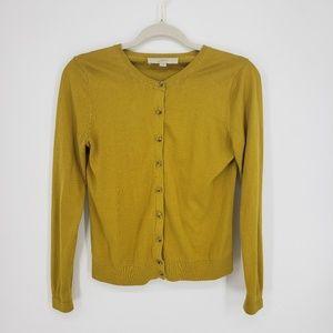 Loft Mustard Yellow Gold Cardigan Sz S